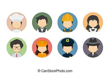 conjunto, variedad, plano, avatar, profesión