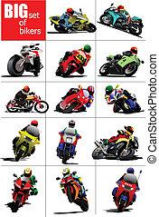 conjunto, vec, bikers, grande, road.