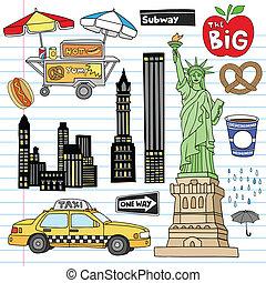 conjunto, vector, ciudad, york, doodles, nuevo