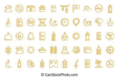 conjunto, vector, icono, ramadan, gradiente, diseño, estilo