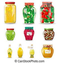 conjunto, vegetales, hongos, miel, vidrio, fruta, diseño, preservado, tarros, su