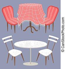 conjunto, vendimia, moderno, mesas, interior, vacío