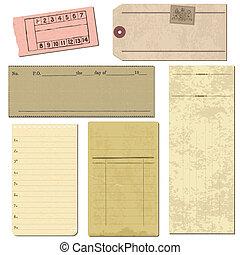 conjunto, viejo, objetos, -, papel, vector, diseño, álbum de recortes