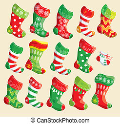 conjunto, x - mamis, año, elementos, vario, stockings., nuevo, navidad, design.