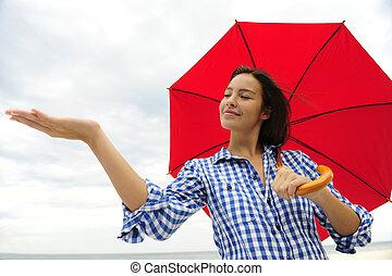 conmovedor, mujer, paraguas, rojo, lluvia