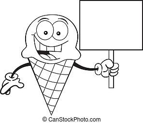 Cono de helado de cartón sosteniendo un si