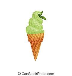 Cono de waffle con helado. Ilustración de vectores sobre fondo blanco.