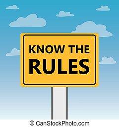 Conoce las reglas escritas en un cartel