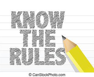 Conoce las reglas escritas en un papel en blanco