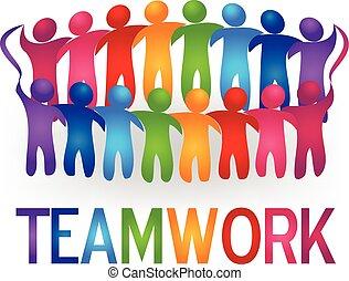 Conocer a gente de trabajo en equipo vector de logo