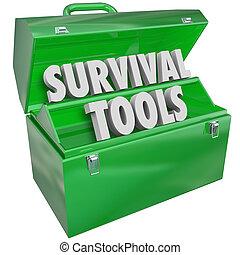 conocimiento, habilidades, supervivencia, cómo, sobrevivir, caja de herramientas, herramientas