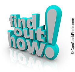 conocimiento, oferta, consejo, cómo, palabras, afuera, hallazgo, ayuda