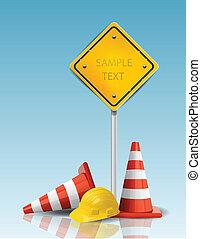 Conos de tráfico y señal amarilla con gorra dura