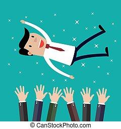 conseguir, hombre de negocios, compañeros de trabajo, pp de throw, aire