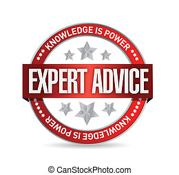 consejo, experto, ilustración, sello
