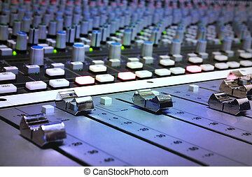 consola mezclada, estudio, grabación