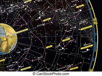 constelación, mapa de la estrella