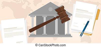 constitutional, legal, caso, crimen, de madera, martillo, símbolo, martillo, subasta, veredicto, tribunal, ley, supremo
