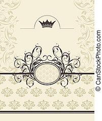 Construcción con cuadro floral y corona