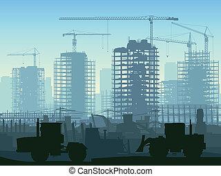 Construcción con grúa.