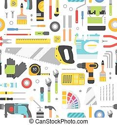 construcción, convictos, equipo, mano, plano de fondo, style., plano, seamless, herramientas, pattern.