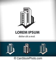 Construcción de construcción creativa Vector, icono de arquitectura aislado para su compañía