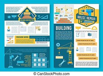 Construcción de construcción, diseño de carteles de reparación de casas