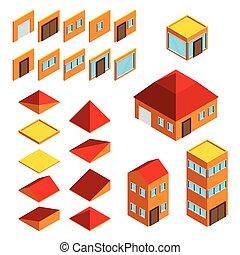 Construcción de elementos isometricos casas vector de iconos establecidos