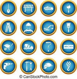 Construcción de iconos en el círculo azul