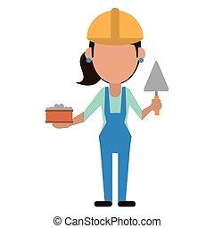 Construcción de mujeres con ladrillo y espátula