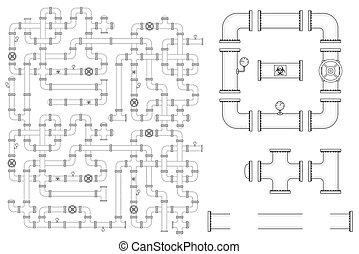 Construcción de tuberías. El equipo de vector incluye partes de tuberías, gorras, válvulas, codos curvas y manómetros