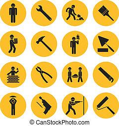Construcción del círculo amarillo y iconos de construcción