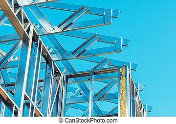 construcción, edificio, acero