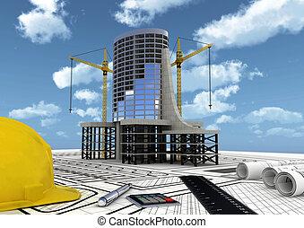 construcción, edificio comercial