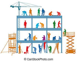 construcción, edificio, construya, trabajadores