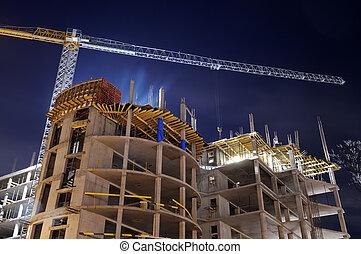 construcción edificio, sitio, noche