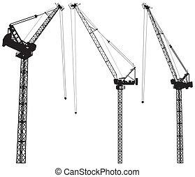 construcción, elevar, grúa