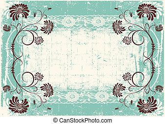 Construcción floral con marco decoración grunge para texto
