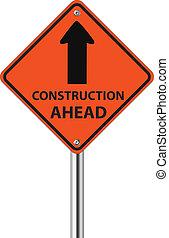 Construcción por delante del signo de tráfico