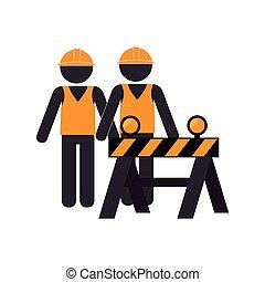 construcción, silueta, camino, grupo, trabajadores