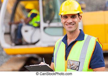 construcción, supervisor, camino