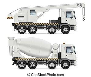 construcción, vector, ilustración, vehículos