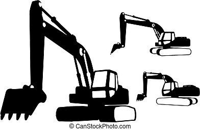 construcción, (vector), vehículos