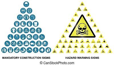 Construcción y iconos de advertencia de peligros