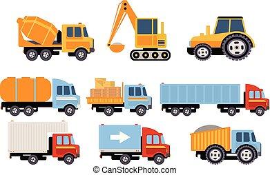 Construcción y transporte de carga, equipo pesado, vehículos de construcción vectores de ilustraciones en un fondo blanco