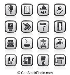 Construcciones y iconos de renovación