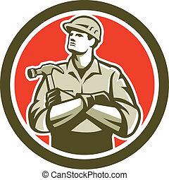 constructor, carpintero, armamentos cruzaron, retro, círculo, martillo