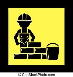 Constructor con icono de pared de ladrillo