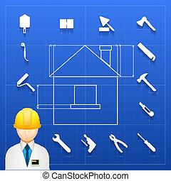 constructor de casas y iconos de herramientas