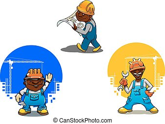 Constructor de dibujos animados, albañil e ingeniero
